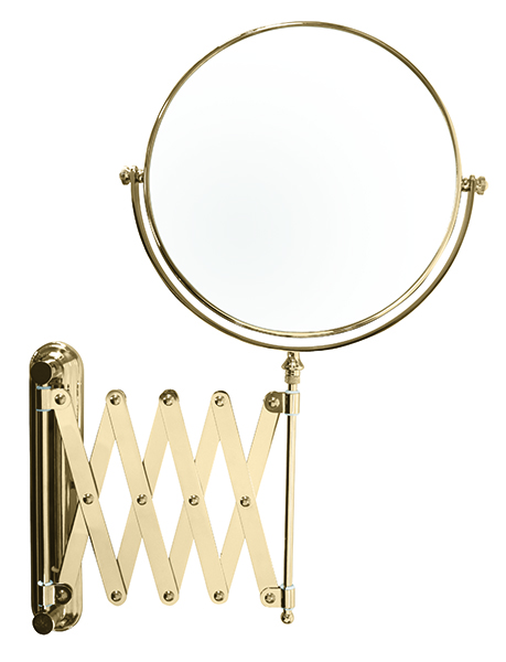 20cm Extending Wall Mounted Gold Plated X 6 Mag True Image Mirrors Compacts Bathroom
